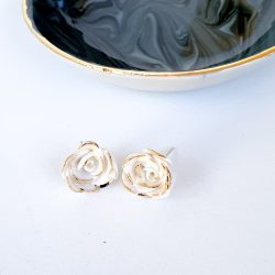 Small Porcelain rose studs